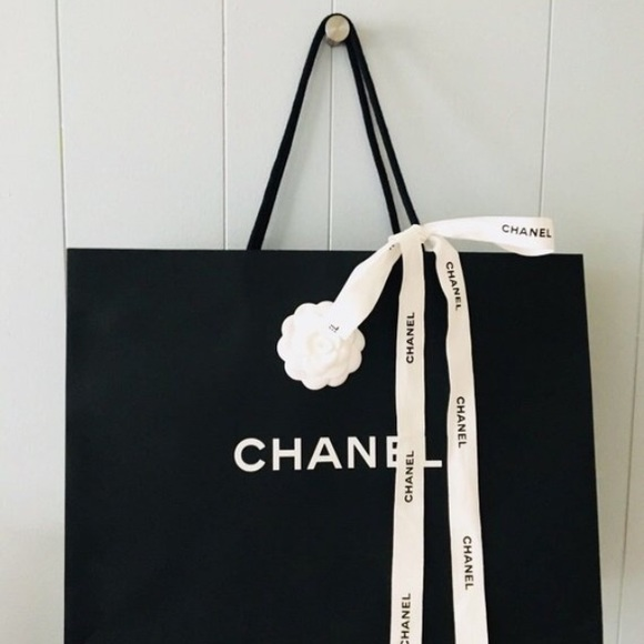 7598f2e6f016 CHANEL Other | Iconic Paper Shopping Bag 17x13x6 Ribbons | Poshmark